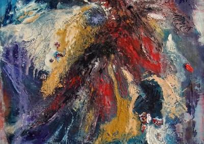 Ausbruch - Oel auf grober Leinwand, 50 x 40 cm, 2013