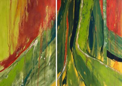 Rueckkehr des Feuers (Diptychon) - Oel auf Leinwand, 100 x 245 cm, 2008