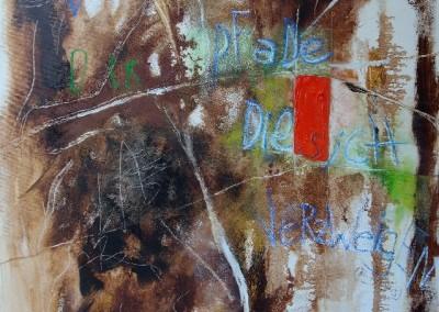 Der Garten der Pfade, die sich verzweigen - Oel und Kreide auf Leinwand, 100 x 80 cm, 2014