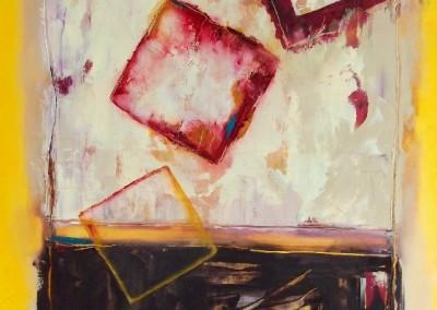 Aus dem Rahmen gefallen - Oel und Kreide auf Leinwand, 100 x 70 cm, 2013