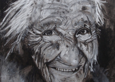 Frau H. - Oelpastellkreide und Kohle auf Leinwand, 80 x 60 cm, 2012