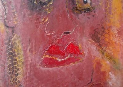 Der Ohrring - Oel auf Wellpappe, 42 x 34 cm, i. R., 2013