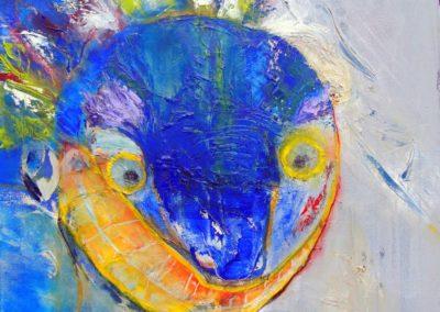 Blaue Maske - Oel auf Leinwand, 60 x 60 cm, 2011