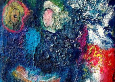 Habe dich im Auge - Oel und Materialien auf Wellpappe, 42 x 30 cm i.R., 2013