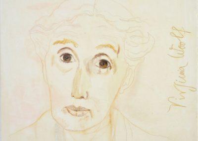 Virginia Woolf - Kreide auf Leinwand, 80 x 80 cm, 2015