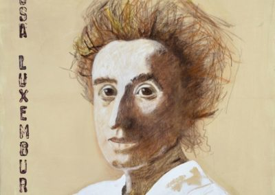 Rosa Luxemburg - Kreide auf Leinwand, 80 x 80 cm, 2015