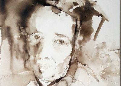 Hannah Arendt - Tusche auf Leinwand, 60 x 60 cm